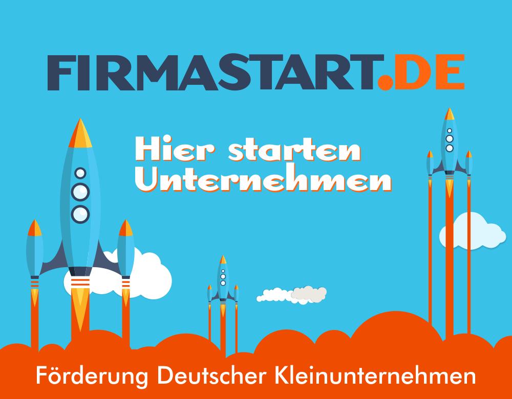 FirmaStart Kleinunternehmen Forderung Gründer dargestellt durch abfliegende Raketen