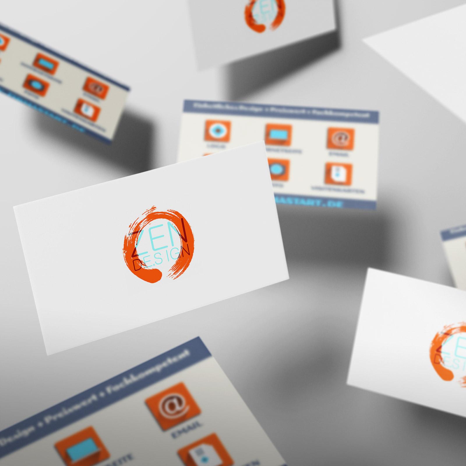 O-ZEN Design Portfolio Fliegende Visitenkarten mit Logo