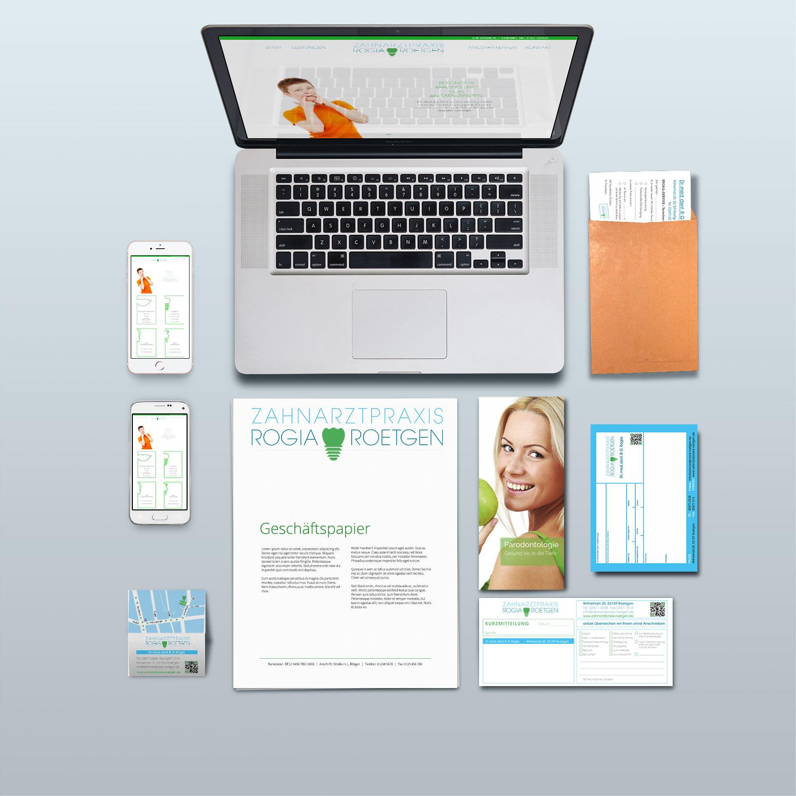 O-ZEN Design Portfolio Zahnarztpraxis Roetgen Corporate Identity dargestellt durch Laptop und Drucksachen