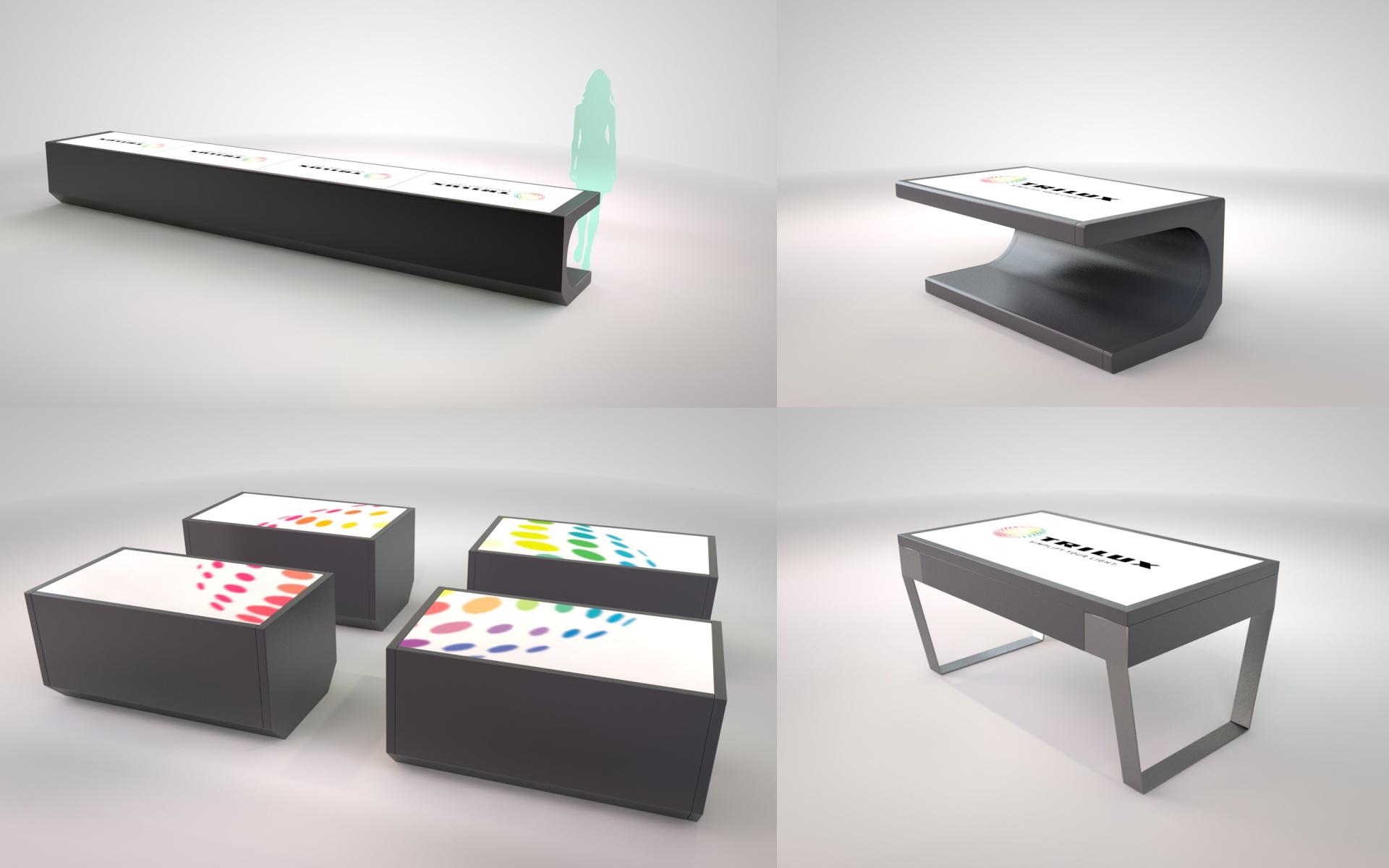 O-ZEN Portfolio Kettner Konzept Rendierte Tische mit integrierte Touch-Displays