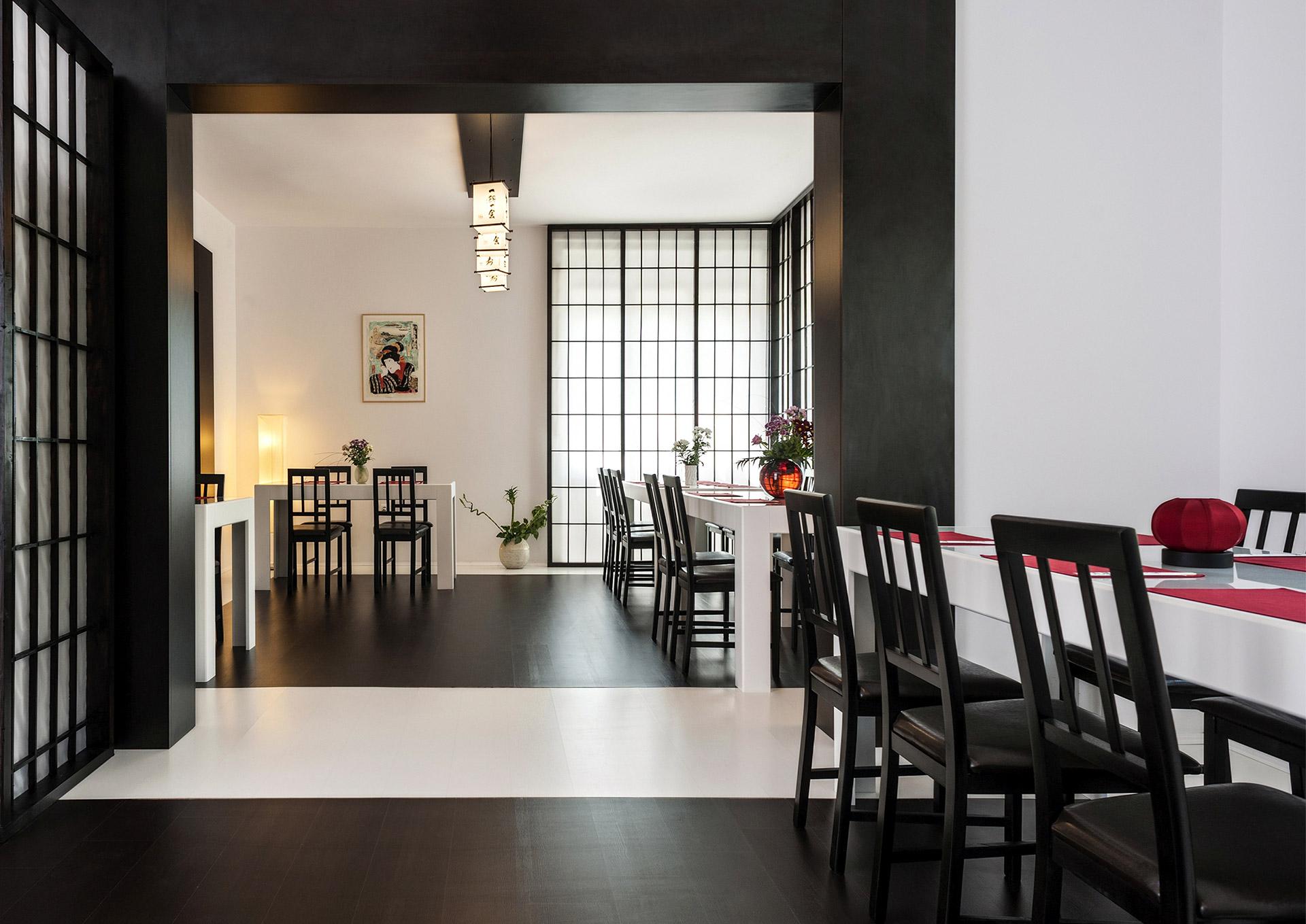 O-ZEN Portfolio Sushi Ya Innendesign Restaurant Detail Tische und Stühle, Handgemachte Japanische Objekte