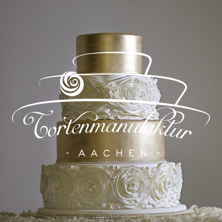 O-ZEN Portfolio Tortenmanufaktur Aachen Goldene Torte für Hochzeit mit Logo