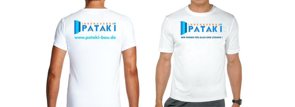 O-ZEN Portfolio Pataki Bau Beschriftung T-shirt mit Logo und Internetadresse beide Seiten