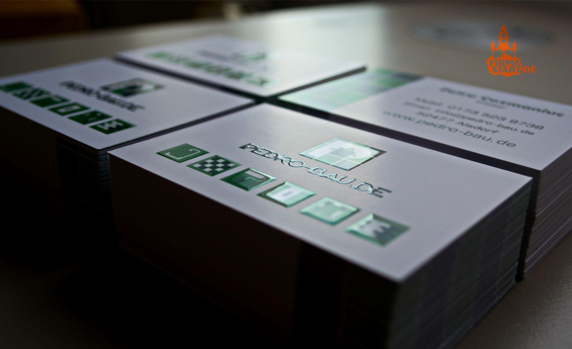 O-ZEN Portfolio Pedro Bau Visitenkarten mit Lack Veredelung