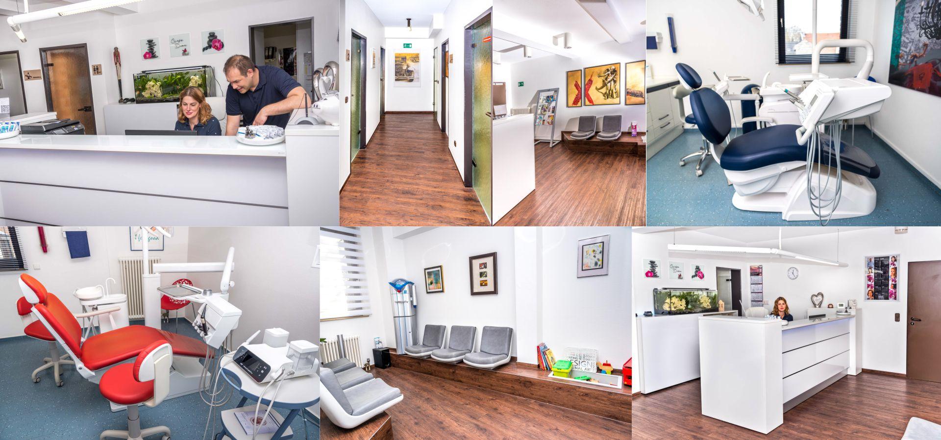 O-ZEN Portfolio Zahnarzt Schwalmtal Lobberich Foto-Collage aud der Praxis, Behandlungsräume, Labor und Technik