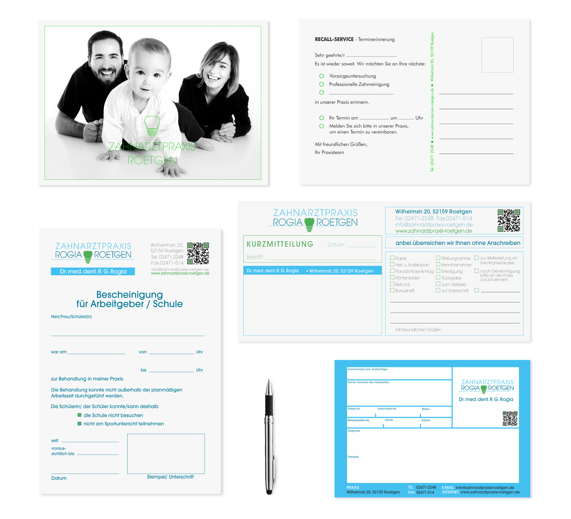 O-ZEN Portfolio Zahnarztpraxis Roetgen Druckbeispiele: Rezept, Recall Postcarten, Kurzmitteilung Bescheinigung Arbeitgeber