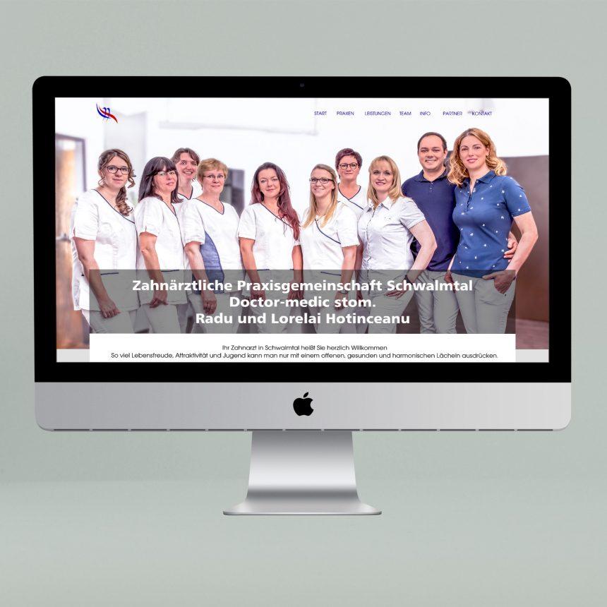 O-Zen Portfolio Zahnarzt Schwalmtal Lobberich Beispiel doppelte Internetpräsenz auf iMac Bildschirm
